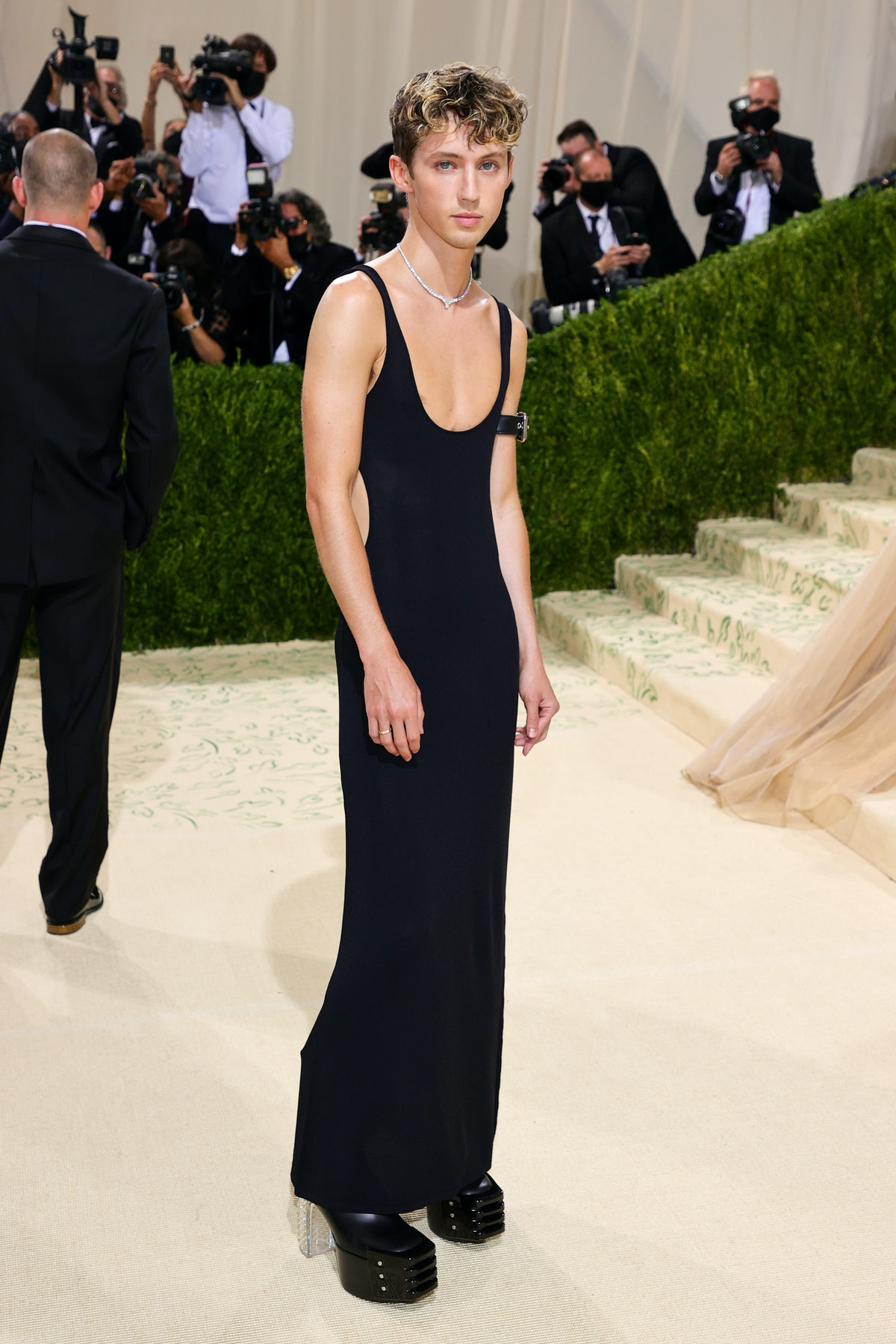 Troye Sivan attends The 2021 Met Gala Celebrating In America: A Lexicon Of Fashion at Metropolitan ...