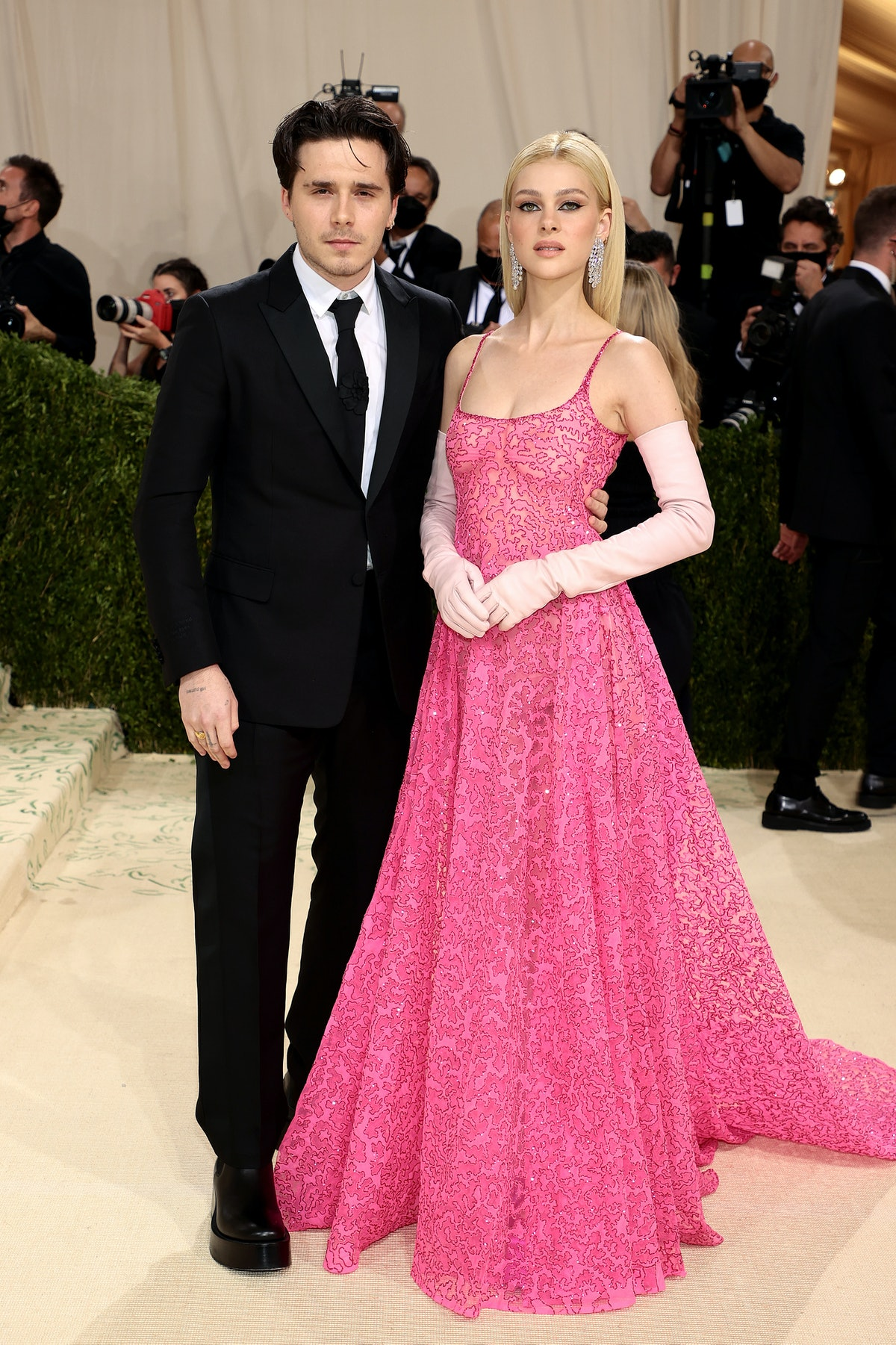 Brooklyn Beckham and Nicola Peltz attend The 2021 Met Gala Celebrating In America: A Lexicon Of Fash...