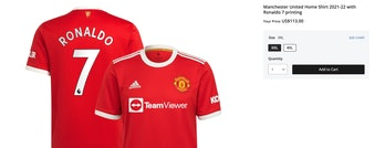 Ronaldo Manchester United Jersey Sales