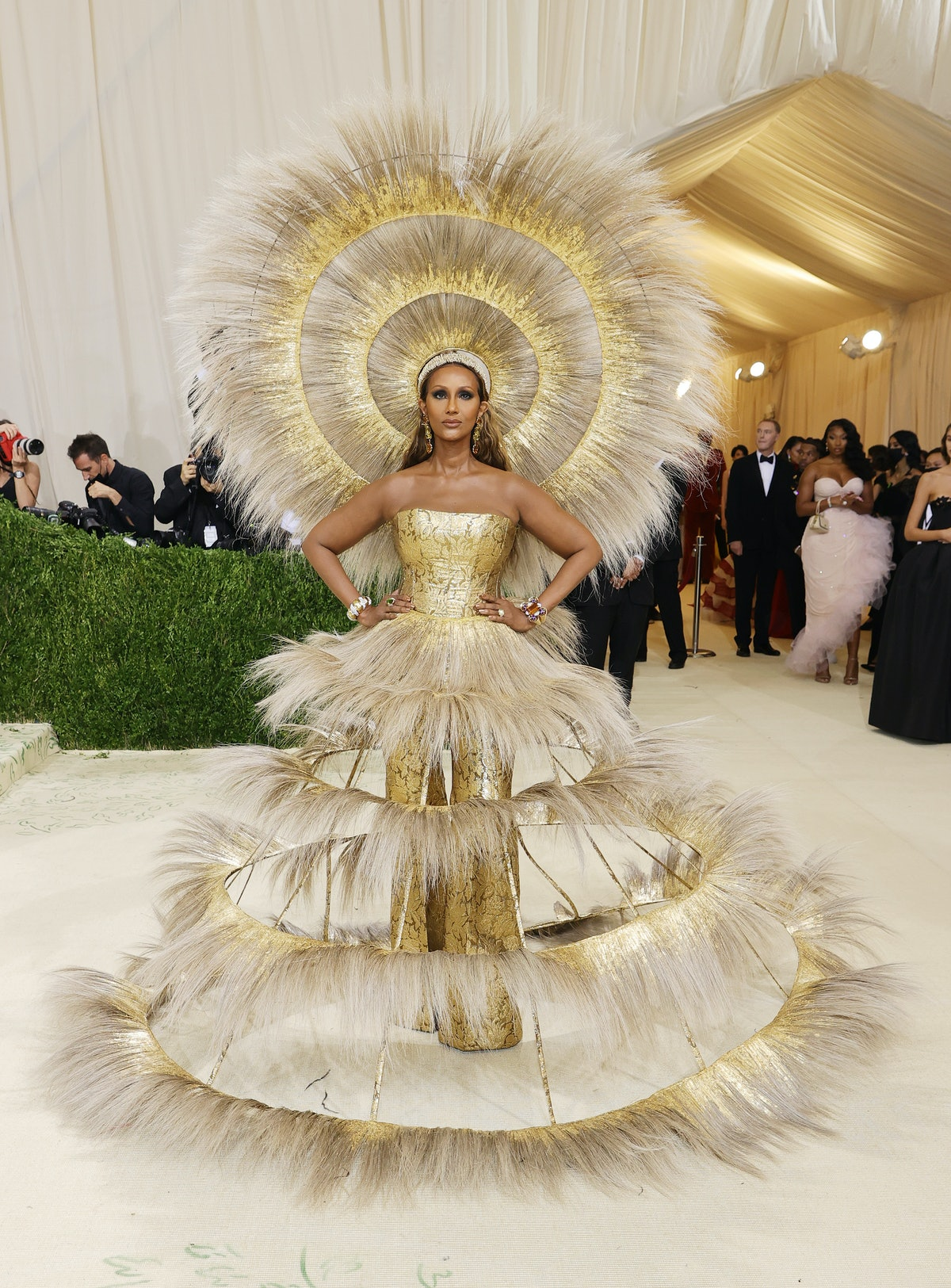 Iman attends The 2021 Met Gala Celebrating In America: A Lexicon Of Fashion at Metropolitan Museum o...