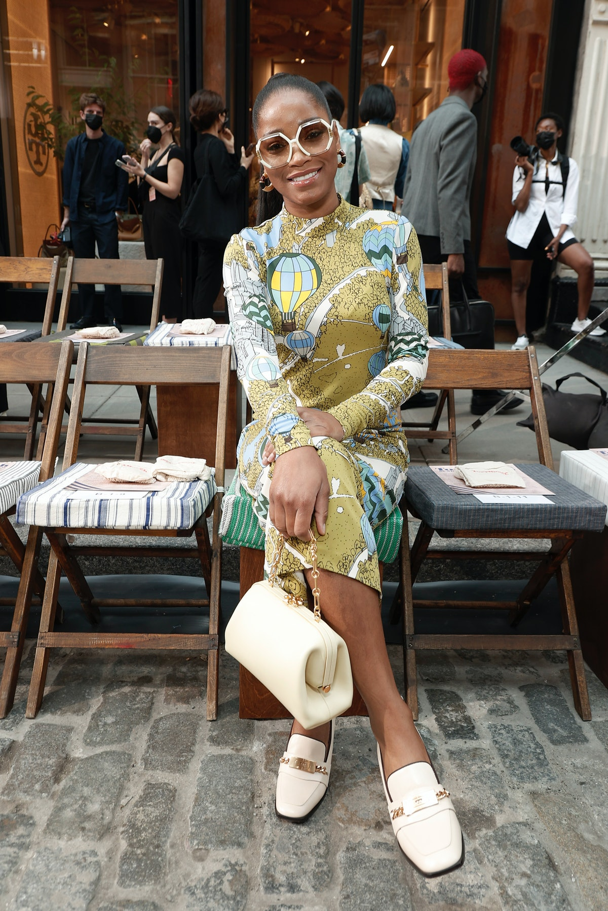 Keke Palmer attends the Tory Burch Spring/Summer 2022 Collection & Mercer Street Block Party on Sept...