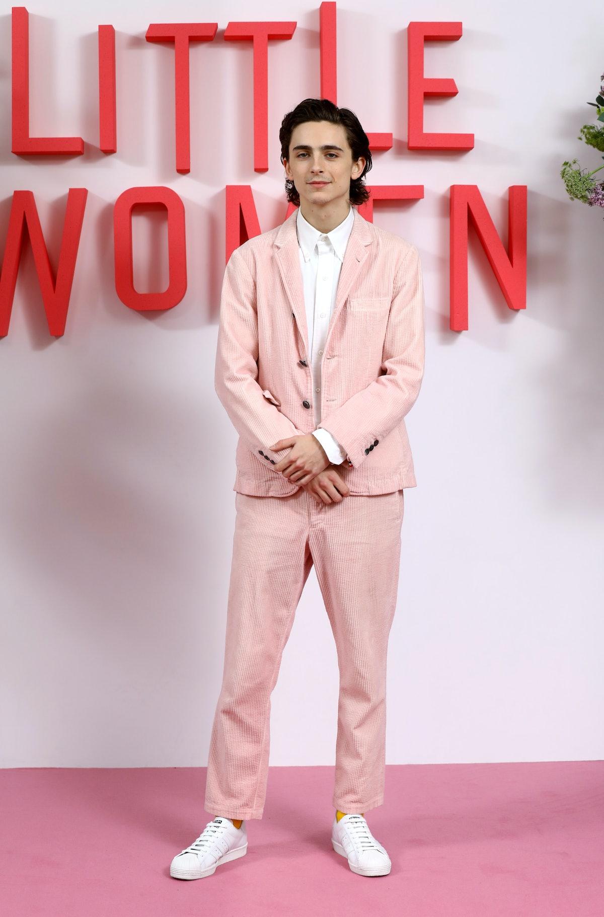 T. CHalamet in pink suit.