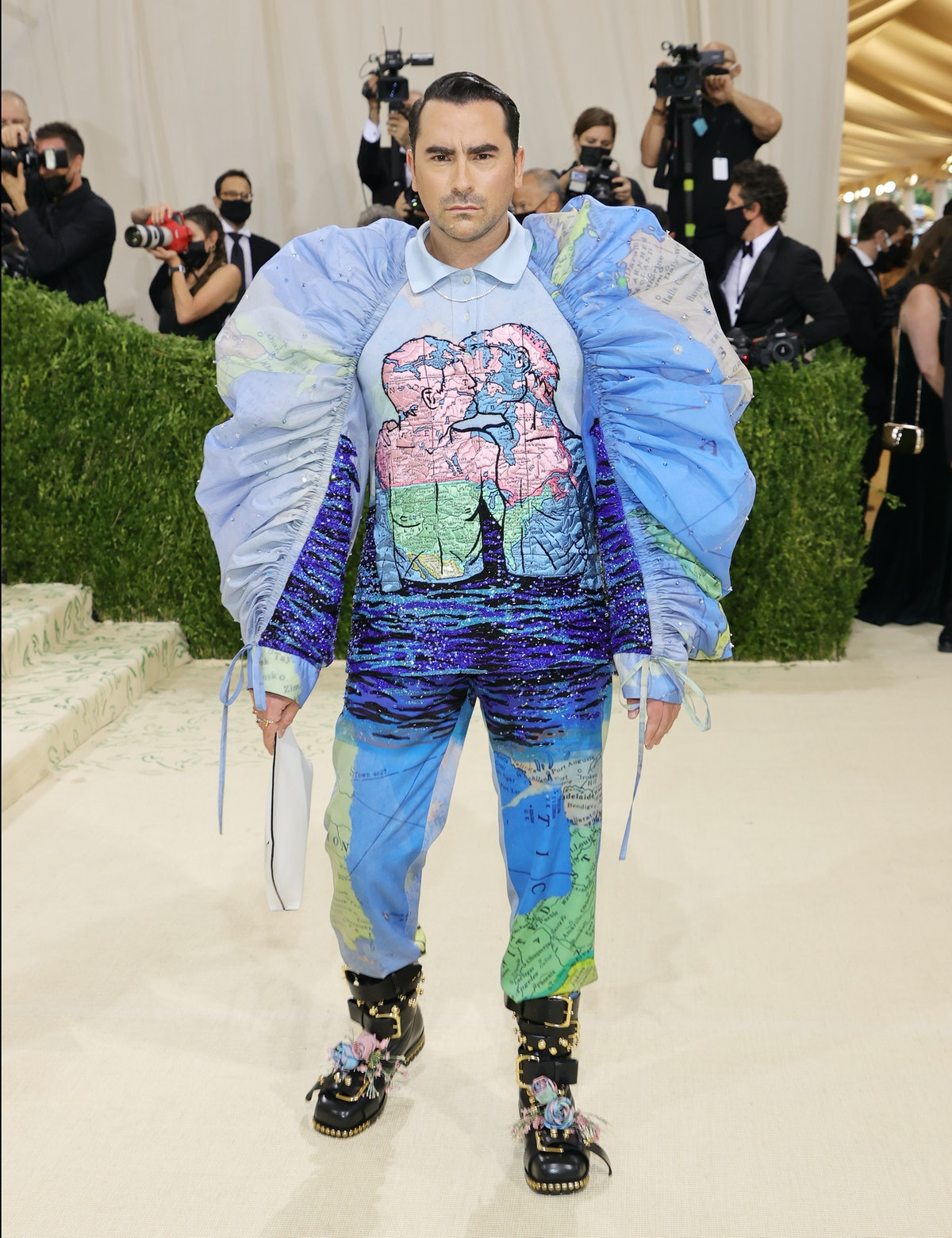 Dan Levy attends The 2021 Met Gala Celebrating In America: A Lexicon Of Fashion at Metropolitan Muse...