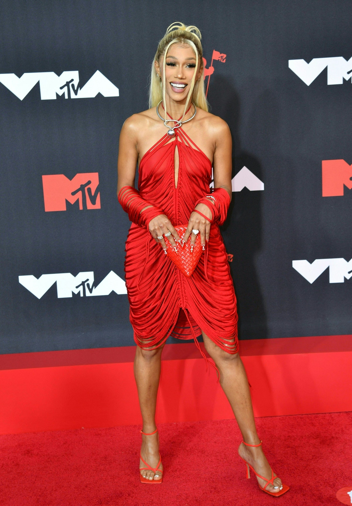 Bia arrives for the 2021 MTV Video Music Awards at Barclays Center in Brooklyn, New York, September ...