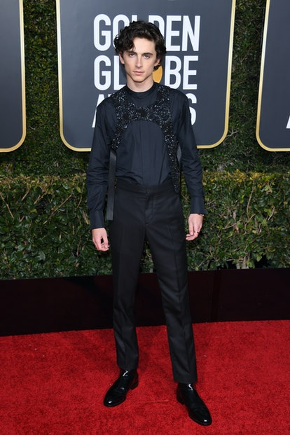 Timothee CHalamet in sparkly harness.