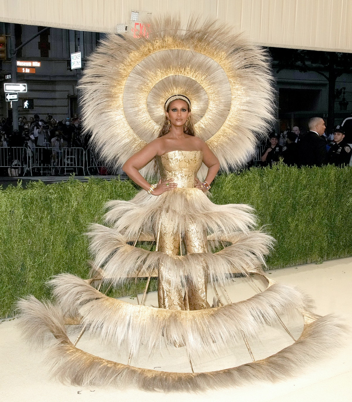 Iman attends The 2021 Met Gala Celebrating In America: A Lexicon Of Fashion at Metropolitan Museum ...