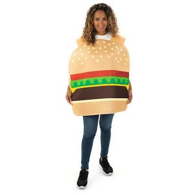 Woman dressed up in hamburger costume