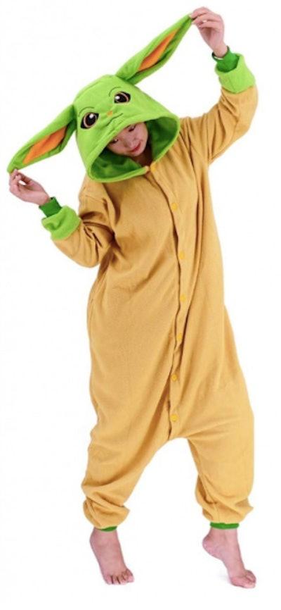 Teen wearing Baby Yoda costume