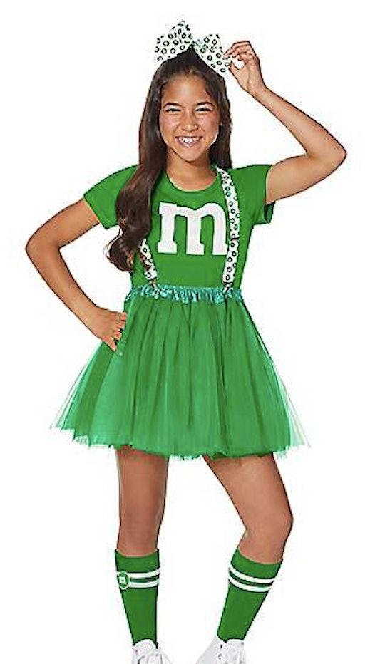 Teen wearing an M&M Halloween costume