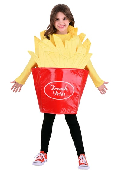 Little girl wearing a french fry costume