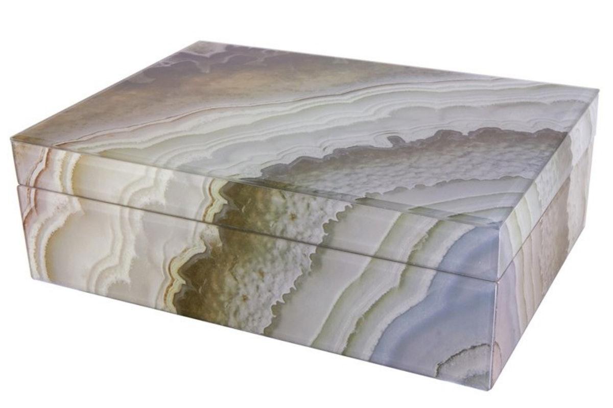 Tahoe Decorative Box, Marbled Mocha