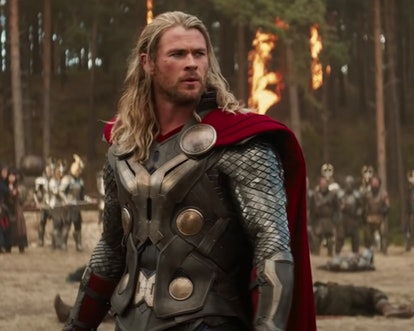 A still from 'Thor: The Dark World,' with Chris Hemsworth as Thor pausing during a fiery battle.