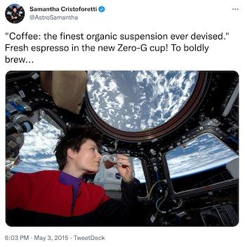 Samantha Cristoforetti, who brewed an espresso in space.