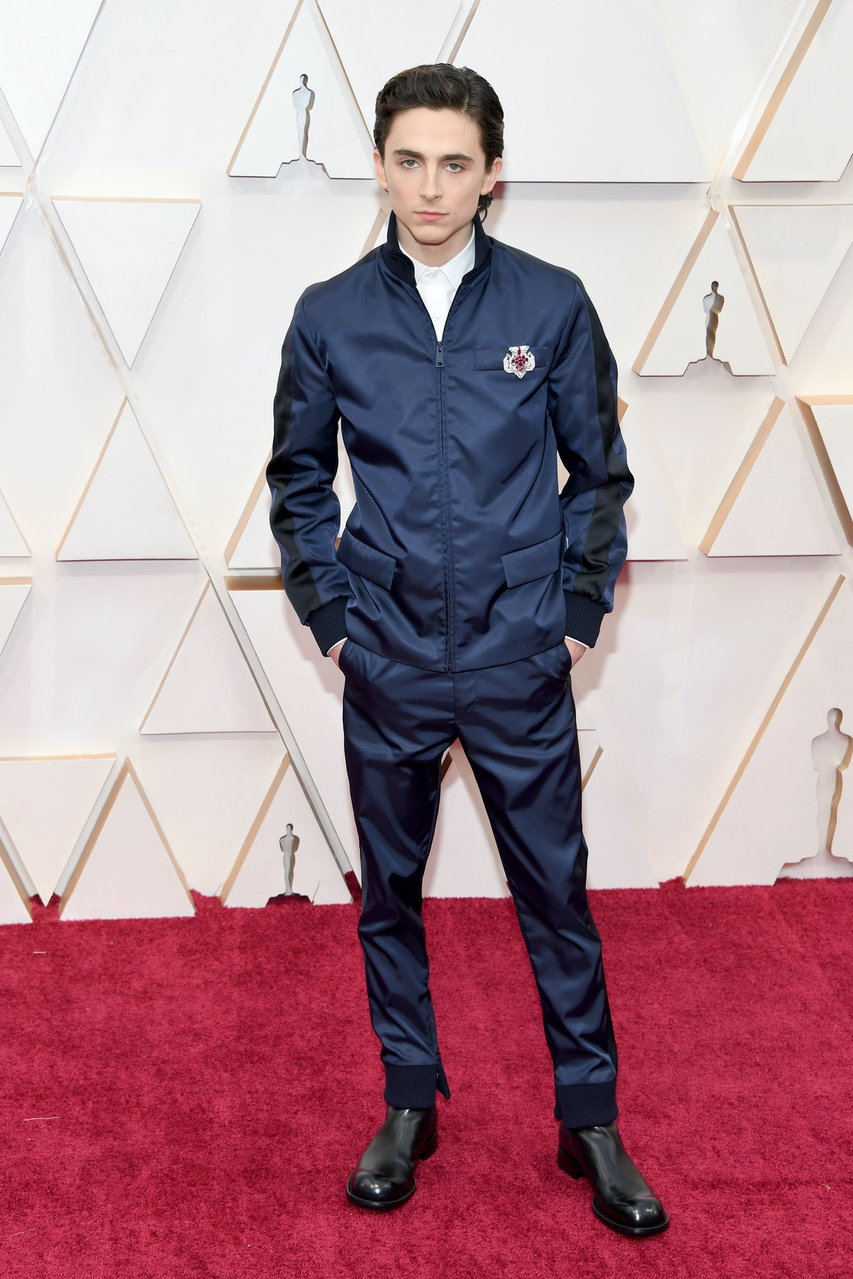 T. Chalamet in blue outfit