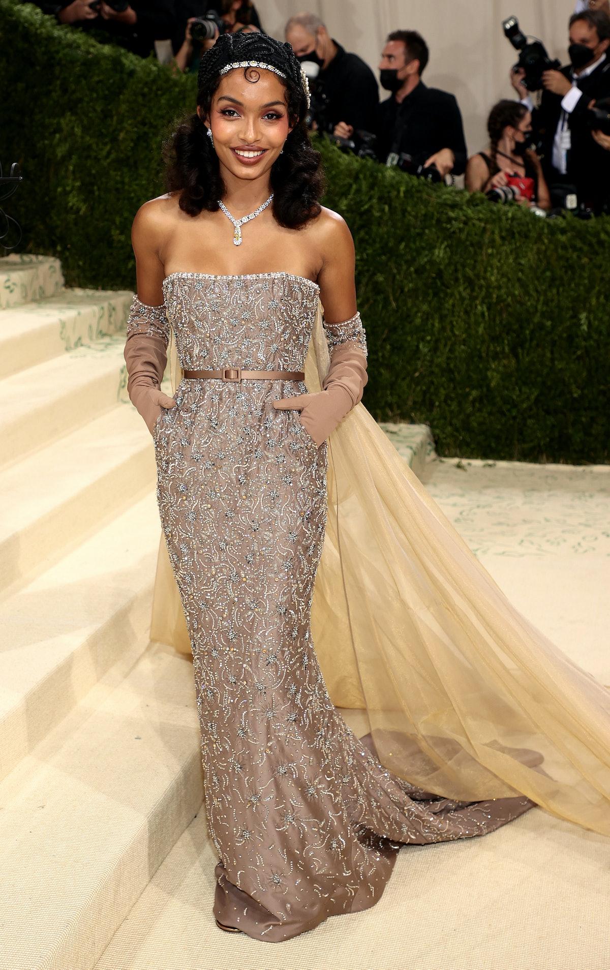 Yara Shahidi attends The 2021 Met Gala Celebrating In America: A Lexicon Of Fashion at Metropolitan ...