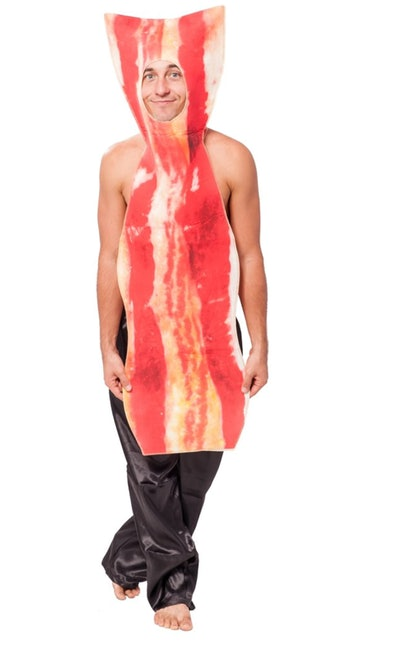 Ma dressed up in bacon costume