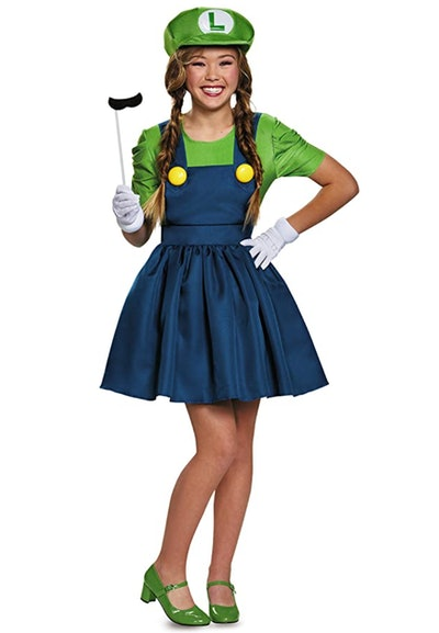 Woman dressed in Luigi dress costume