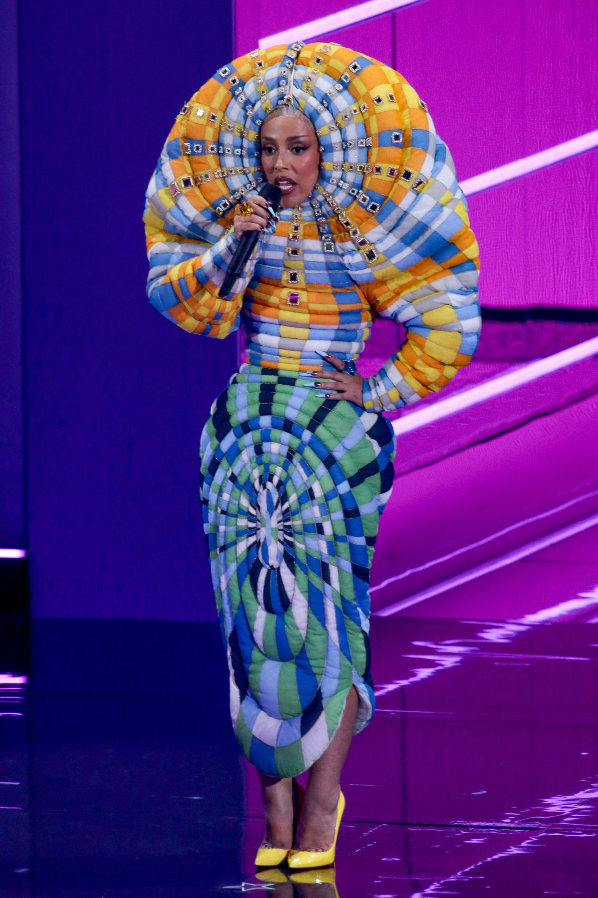 Doja Cat speaks onstage during the 2021 MTV Video Music Awards at Barclays Center on September 12, 2...