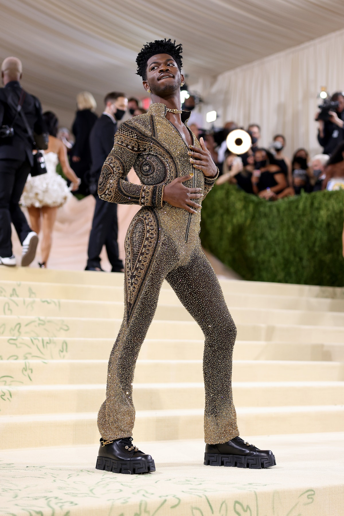 Lil Nas X attends The 2021 Met Gala Celebrating In America: A Lexicon Of Fashion at Metropolitan Mus...