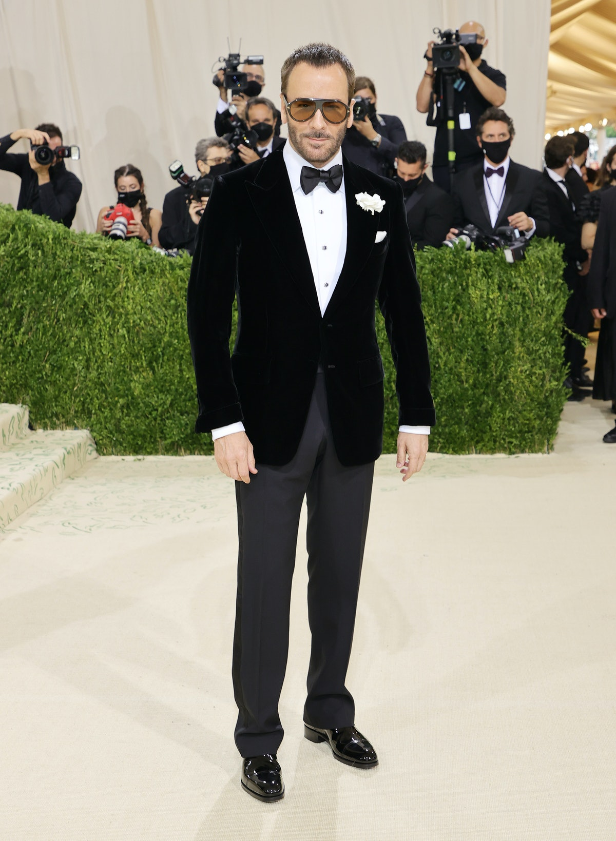 Honorary chair Tom Ford attends The 2021 Met Gala Celebrating In America: A Lexicon Of Fashion at Me...