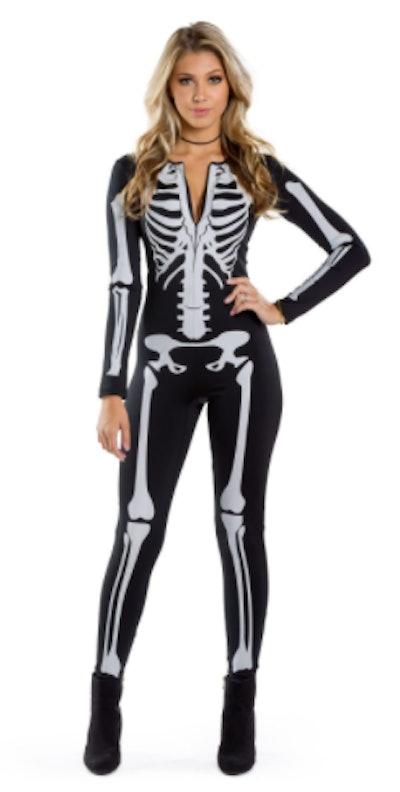 Teen wearing a skeleton bodysuit costume