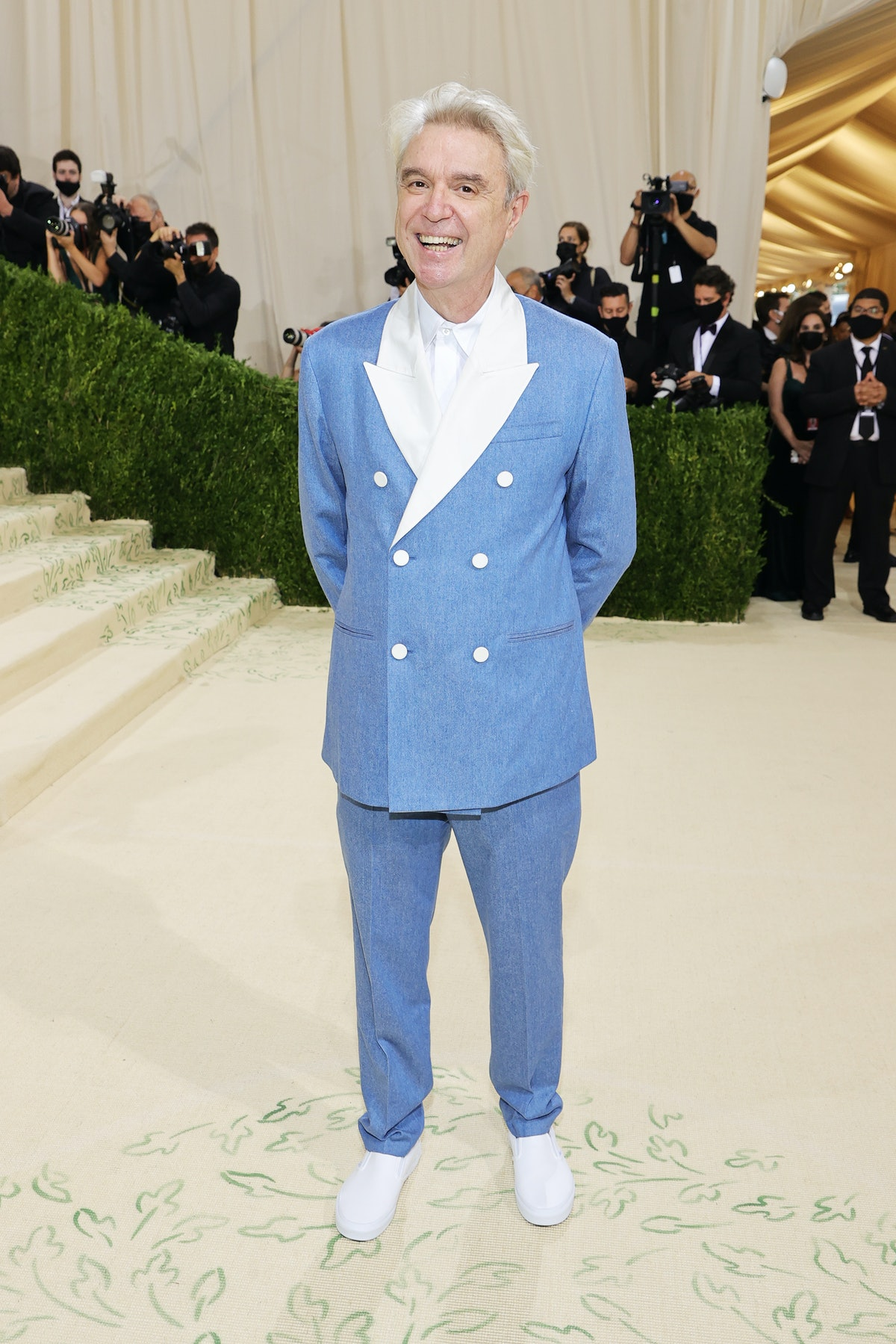 David Byrne attends The 2021 Met Gala Celebrating In America: A Lexicon Of Fashion at Metropolitan M...