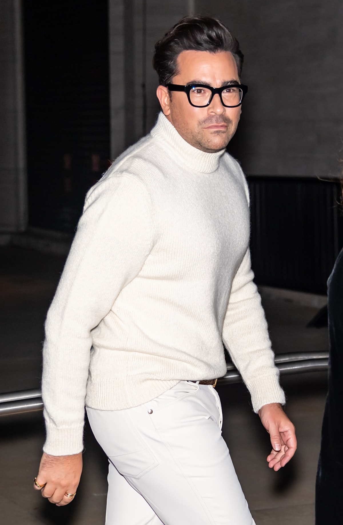 Actor Dan Levy is seen arriving to the Tom Ford spring/summer 2022 fashion show during New York Fash...