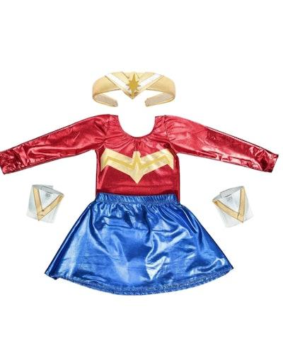 Flay lay of kids Wonder Woman costume