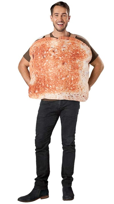Adult man wearing a slice of toasted bread as costume