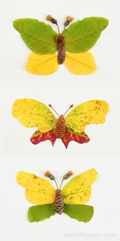 butterfly shapes made from autumn leaces