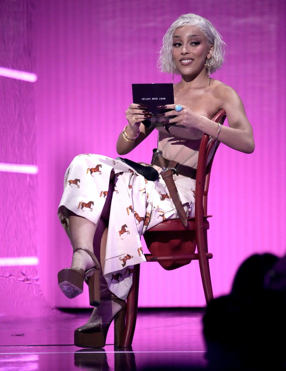 Doja Cat speaks onstage during the 2021 MTV Video Music Awards at Barclays Center on September 12, ...