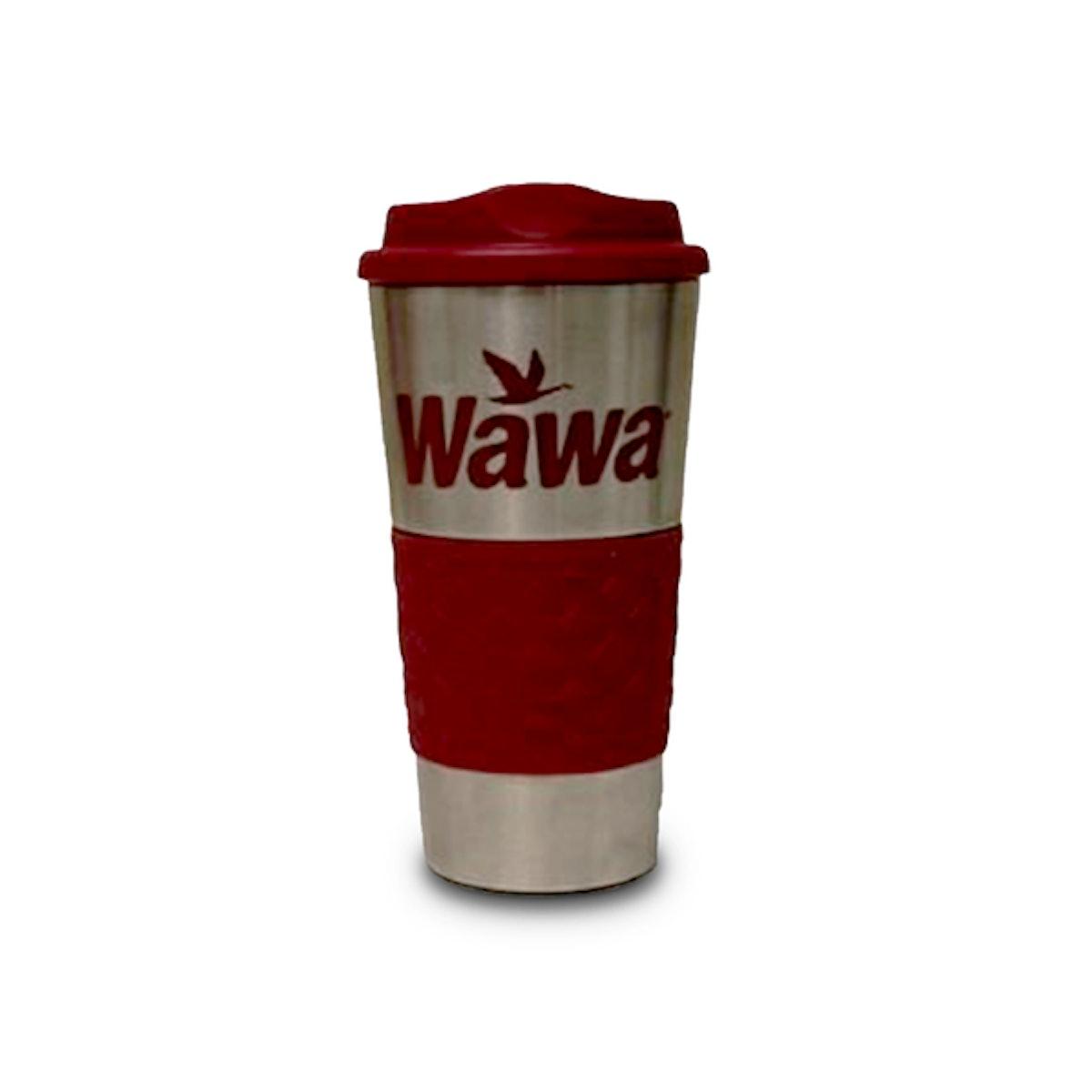 A Wawa travel coffee mug for a DIY Mare of Easttown Halloween Costume