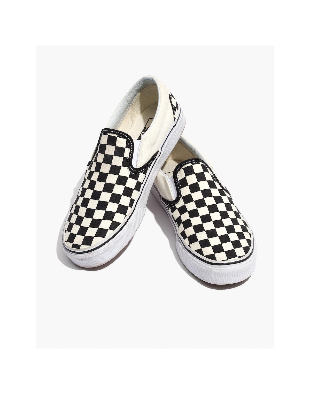 Unisex Classic Slip-On Sneakers in Black Checkerboard
