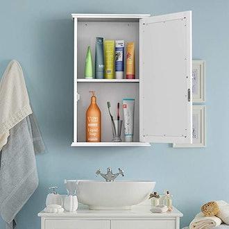 Tangkula Mirrored Bathroom Cabinet Hidden Storage