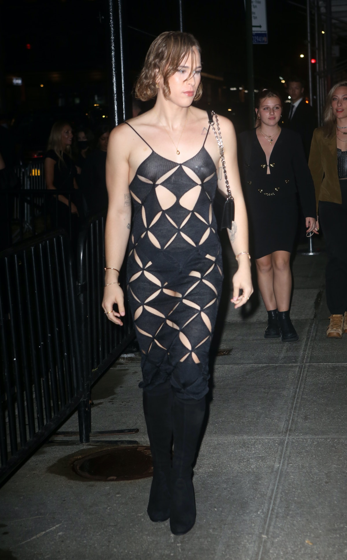 Tommy Dorfman heads to a 2021 Met Gala after-party.
