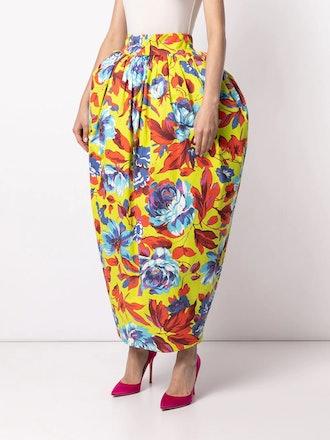 Floral-Print Puffball Skirt