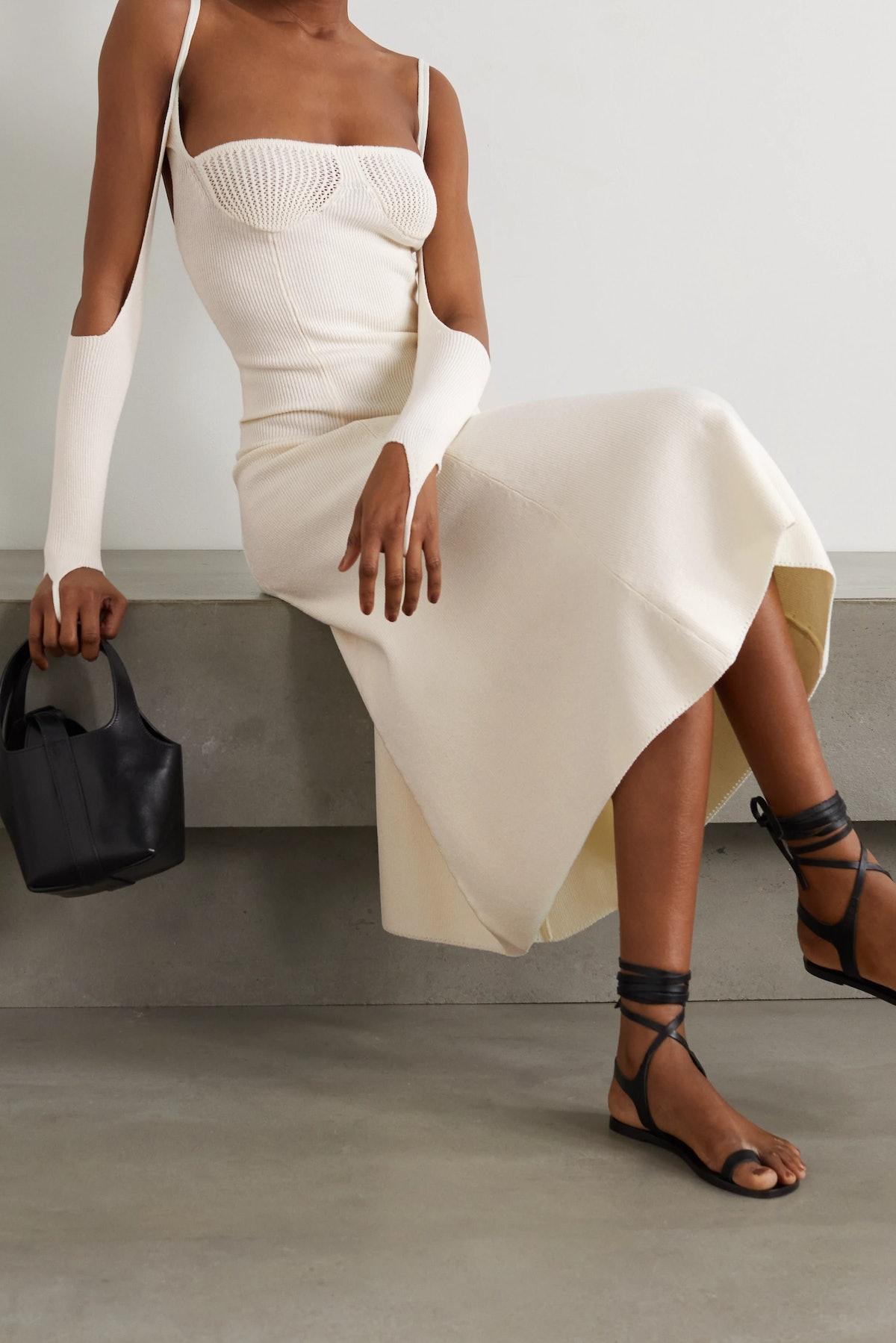 Reality Cold-Shoulder Ribbed-Knit Midi Dress