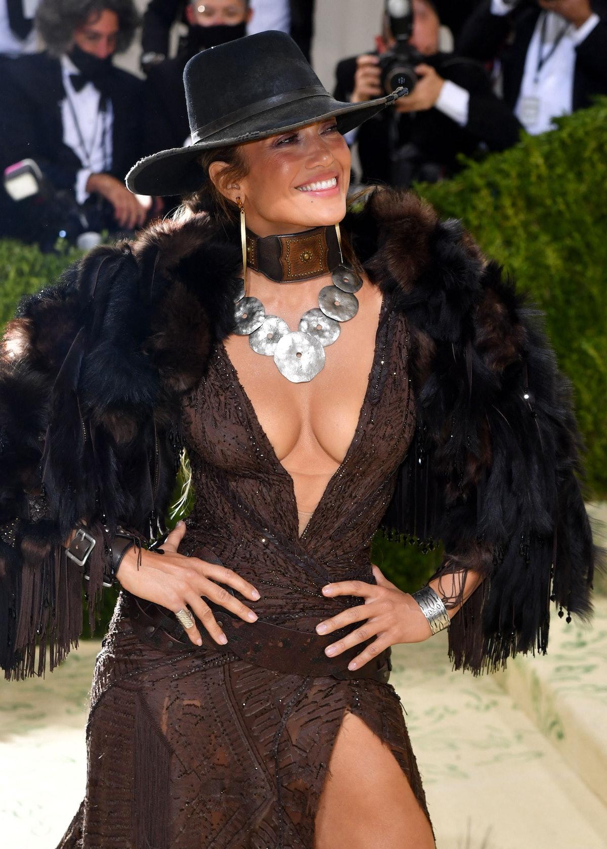 Jennifer Lopez arrives for the 2021 Met Gala.