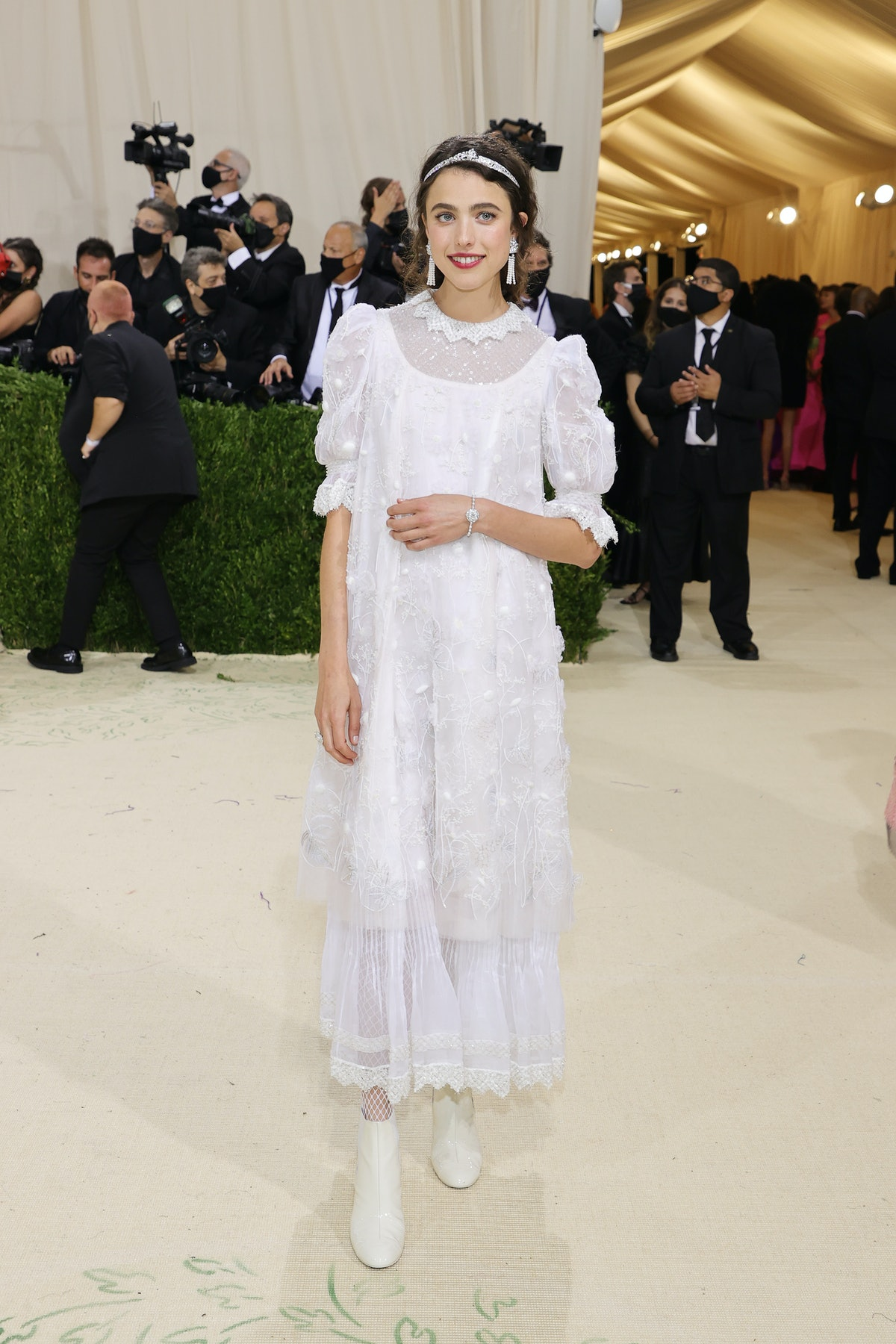 Margaret Qualley attends The 2021 Met Gala Celebrating In America: A Lexicon Of Fashion at Metropol...