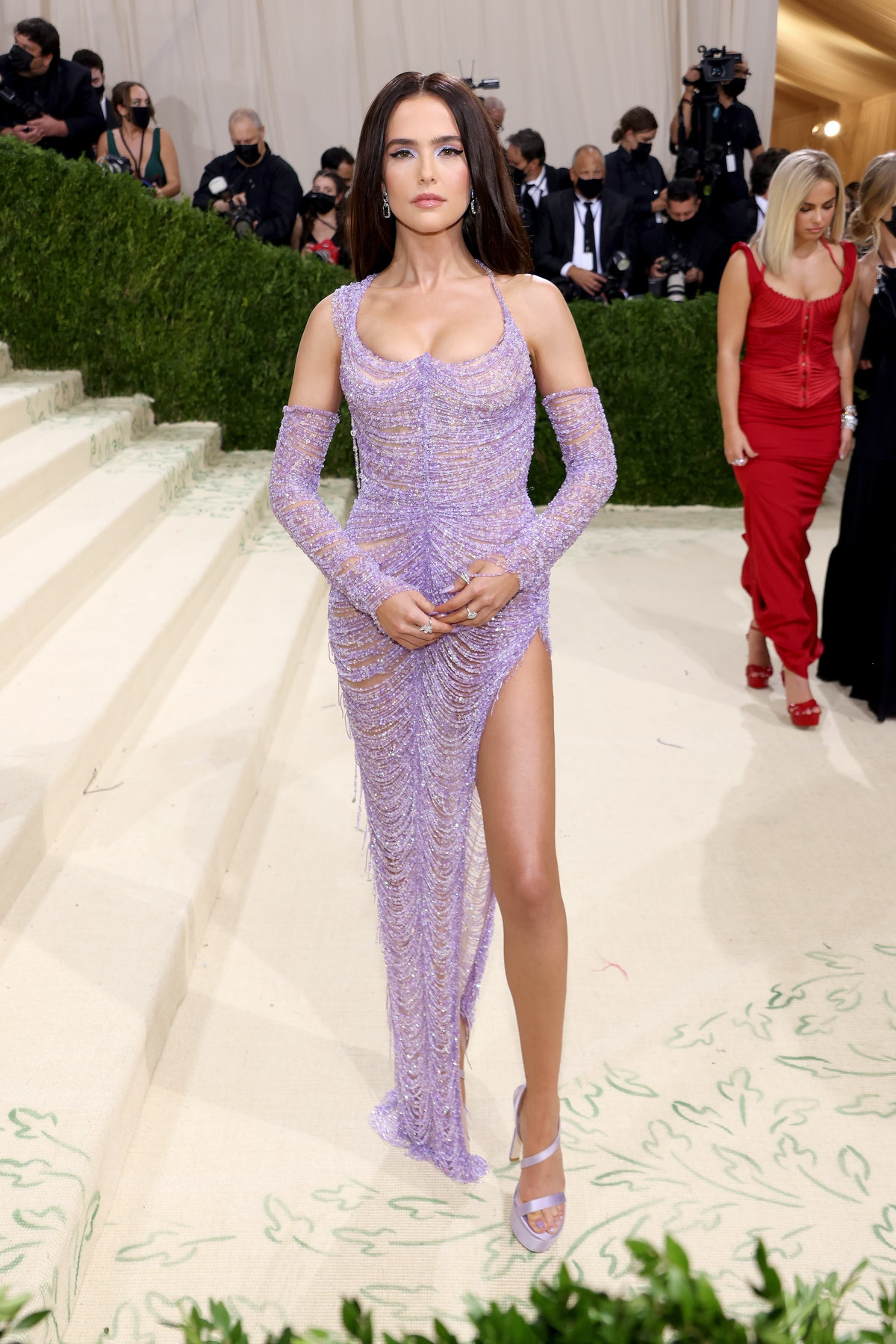 Zoey Deutch attends The 2021 Met Gala Celebrating In America: A Lexicon Of Fashion at Metropolitan M...