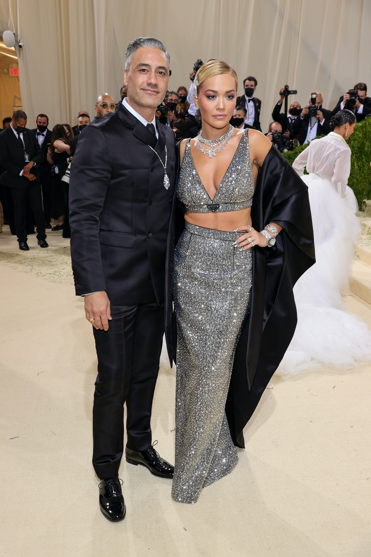 Taika Waititi and Rita Ora attend The 2021 Met Gala Celebrating In America: A Lexicon Of Fashion at ...