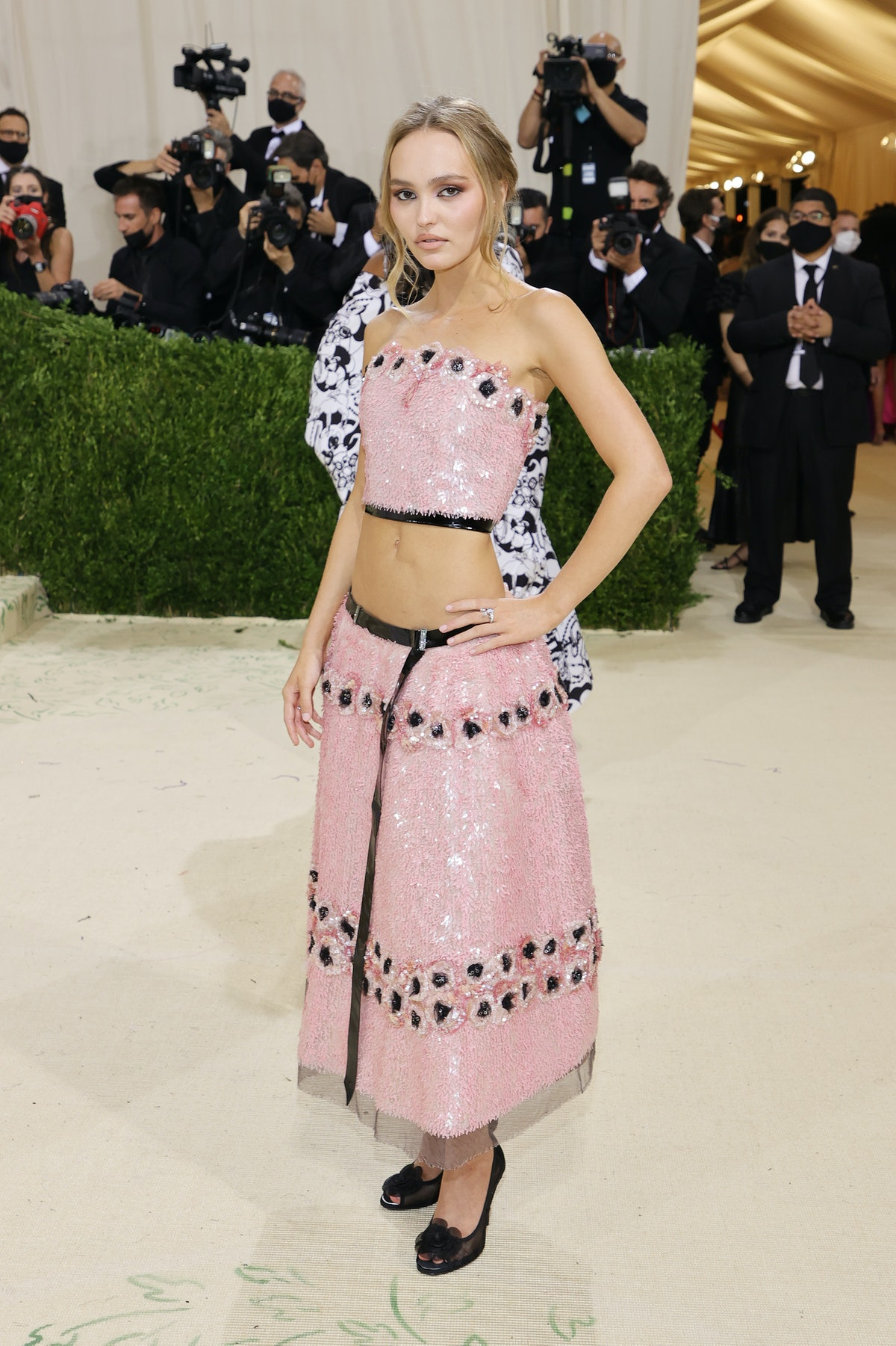 Lily-Rose Depp attends The 2021 Met Gala Celebrating In America: A Lexicon Of Fashion at Metropolita...