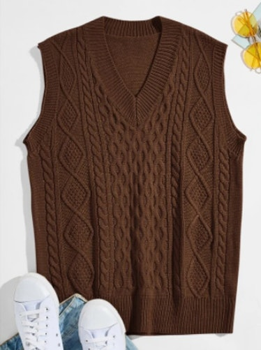 Men Cable Knit V-neck Sweater Vest
