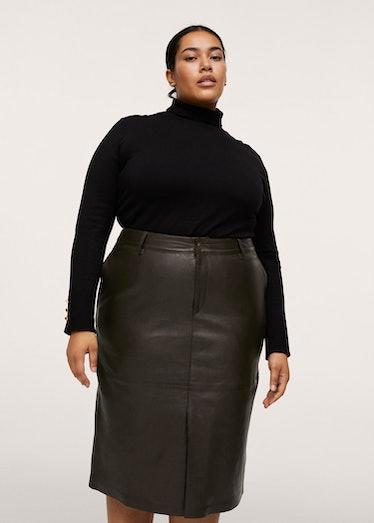 100% Leather Midi Skirt