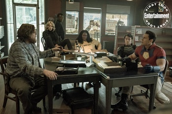 Entertainment Weekly debuted Peacemaker's first look image featuring Economos (Steve Agee), Harcourt...