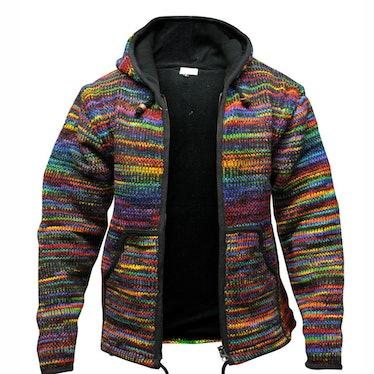Winter Knitted Cardigan Rainbow Striped Zipper Vintage Knitwear Pocket Hooded Men's Sweater