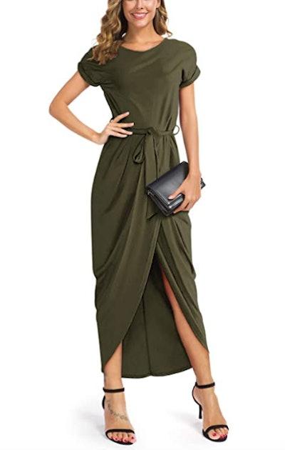 GRECERELLE Women's Short Sleeve Maxi Dress