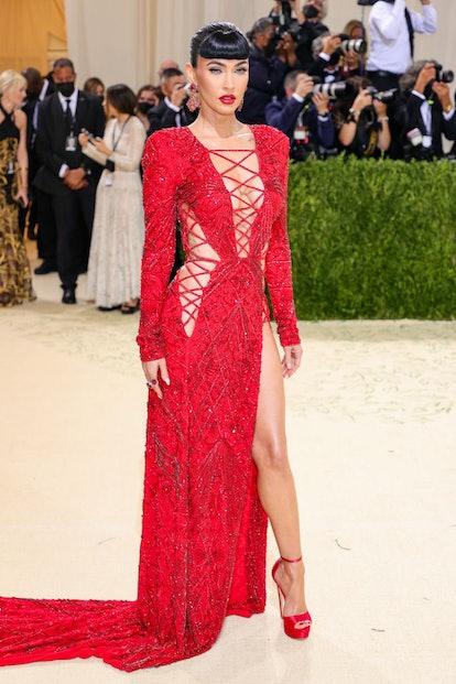 Megan Fox sporting '50s-style Bettie bangs at the Met Gala.