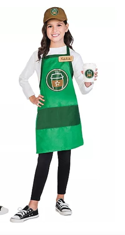Girl dressed up as a coffee shop barista