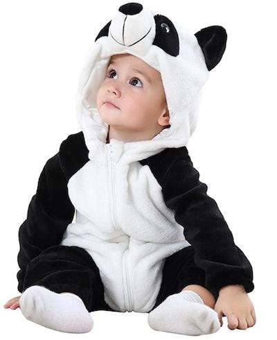 Baby sitting, posing in panda bear costume onesie